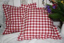 *Deko-Traeume* 2 Stuhlkissen Sitzkissen Landhaus Rot-Weiß Karo