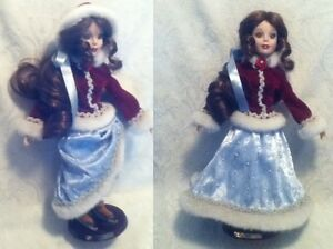 """18"""" Disney Belle 2001 Porcelain Skate Doll Blue Dress Velvet Coat w Logo Stand"""