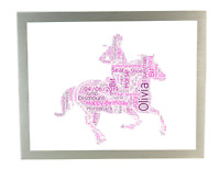Personalised Word Art Print Horse Riding Race Ride Birthday Gifts for Her Women