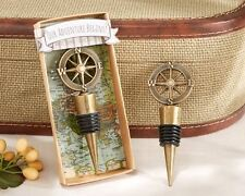 24 Our Adventure Begins Nautical Themed Compass Bottle Stopper Wedding Favors