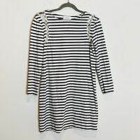 ALC Short Breton Stripe Mini Dress Lace Detail Nautical Size Small White Blue