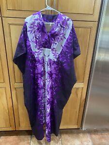 Vintage 80'S Royal Creations Caftan Dress Hawaiian Aloha Maxi Purple One Size