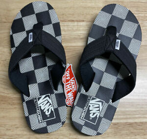 VANS UltraCush T Street Print FLIP FLOPS Sandals Beach Pool Black/White Size 12