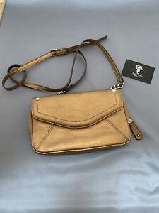 Gold Leather Shoulder/crossbody Bag By Tignanello