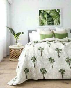 Indian Kantha Throw Palm Tree Kantha Quilt Reversible Bedspread Cotton Gudri Art