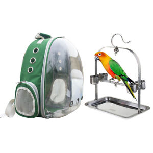 Parrot Carrier Backpack Bird Travel Bag Space Capsule with 1 Set Perch Cup