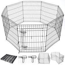 """30"""" Pet Dog Playpen Exercise Fence Cage Kennel w/ Door 8 Panel Outdoor Indoor"""