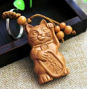 Maneki Neko Lucky Fortune Cat Carving Wooden Pendant Keychain Key Ring Chains