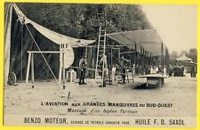 cpa Benzo Moteur AVIATION Stand Montage d'un BIPLAN FARMAN Assembling a Plane