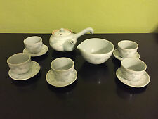 Korean Celadon Jade Green Porcelain Tea Cup/Saucer/Teapot/Cooling Bowl Set VTG