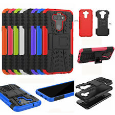 For LG Fortune 3, 3D 2in1 Dual-Layer Shockproof Rugged Hybrid Armor Case + Glass