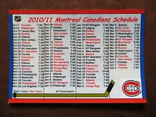 2010-11 Montreal Canadiens Hockey NHL Magnet Schedule Unmarked
