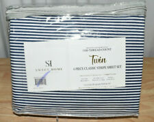 Sweet Home Twin Size Sheets-4 Pc 1500 Thread Cnt-Stripes Navy Brushed Microfiber