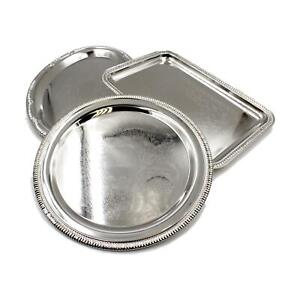 Polished Silver Metal Canapé Sandwich Serving Platter Trays Buffet