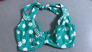 BN Figleaves Green And White Underwired Bikini Halter Neck Top Size 32DD