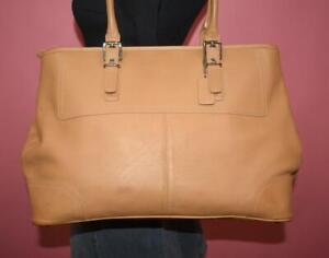 COACH XL Beige Leather HAMPTONS Business Tote Carryall Case Shoulder Bag 5131