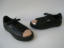 PUMA BLACK LEATHER ROSE GOLD CAP TOE SNEAKERS SIZE US 7 EUR 37.5 VERY NICE