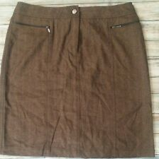 Valerie Stevens Skirt Wool Rich Blend Brown Beige Work Womens Size 10