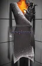 Feather Rumba Salsa Latin Competition Dance Dress US 10 UK 12 Black Sliver