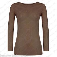 Ladies Women's Long Sleeve Sheer Mesh See Through Plain Top T-shirt Plus 8-20 Mocha One Size 8-14
