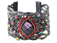 Vintage Brass Red Crystal Rhinestone Cuff Bangle Bracelet Costume Party Jewelry