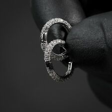Mens Fully Iced White Gold Sterling Silver Cz Small Thin Round Hoop Earrings