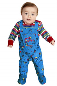 Chucky Baby Costume, Blue & Red with All in One (UK IMPORT) COST-M NEW