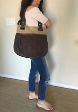 FOSSIL KEY PER Women's Brown Quilted Fabric Canvas Tote Shoulder Bag HandBag EUC