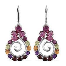 Amethyst Garnet Peridot Citrine Bixbit Earrings Platinum ovr Sterling Silver NEW