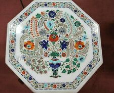 Semi Precious Stones Inlay Patio Table Top Marble Coffee Table for Home 27 Inch