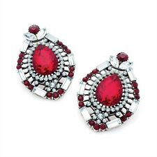 Burnished Silver Siam Red Crystal Stone Stud Earrings Costume Jewellery