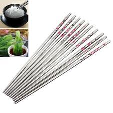 10 Pair Reusable Chopsticks Metal Korean Chinese Stainless Steel Chop Sticks