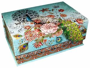 Punch Studio Rectangle Flip Top Nesting Box Peacock Post 68650 Small