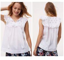 Ann Taylor Loft Women Size L Eyelet Tassel Embroidered Summer White Crisp Shirt