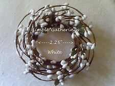 """Berry Candle Ring WHITE Pips Pip 2.25"""" Country Cottage for Small Pillar or Taper"""