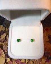 Vibrant natural Green Tsavorite Garnet 4mm facet yellow gold stud earrings 💚