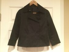 Theory Cropped Black Trench Coat, Size 4