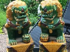 More details for very large pair of vintage antique foo dog lions ,signed in base