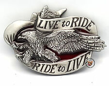LIVE TO RIDE AMERICAN EAGLE MOTORCYCLE BELT BUCKLE STORAGE POUCH *FREE USA SHIP*