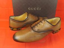 NIB GUCCI COCOA BETIS  Leather Lace-up  Bamboo Heel Oxfords 12.5 13.5 #336459