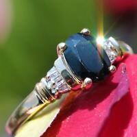14k yellow gold ring 1.10ct ceylon sapphire diamond sz 6.75 handmade 2.7gr