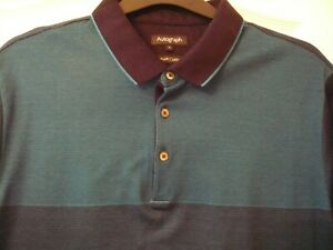 mens M&S autograph navy blue and green polo shirt Size XL