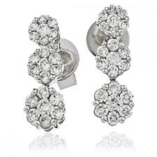 Diamond Drop Daisy Earrings 0.70ct F VS in 18ct White Gold Brilliant Cut Pierced
