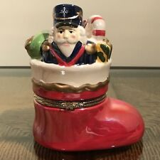 Mr. Christmas Toy Filled Boot Nutcracker Iradescent Glossy Musical Box
