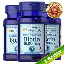 Puritan's Pride Biotin 10,000 mcg 100 Softgels (3-PACK)