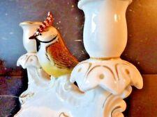 Magnifique bougeoir porcelaine karl Ens décor mésange huppée