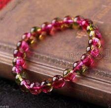 6MM Genuine Natural Watermelon Tourmaline Gemstone Beads Stretchy Bracelet 7.5''