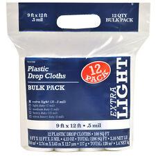 12-Pack 9 ft x 12 ft Paint Essentials Heavy Duty Clear Plastic Drop Cloths New