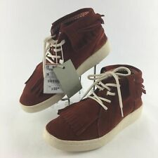Zara Kids Size 36 Suede Leather Fringed Lace Up Ankle Moccasin Boots Shoes New