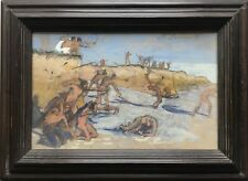 MAX SELIGER 1865 - 1920 FIGHTING INDIANS - KÄMPFENDE INDIANER - GOUACHE 23 X 35